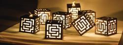 HQ HQLEDSLSQRWD Lichtslinger kubus hout 10 LED