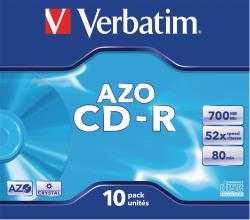 Verbatim 43327 CD-R AZO Crystal 700 MB Jewel Case 10 stuks