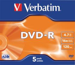 Verbatim 43519 DVD-R Matt Silver 4.7 GB 16x Jewel Case 5 stuks
