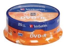 Verbatim 43522 DVD-R Matt Silver 4.7 GB 16x spindel 25 stuks
