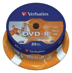 Verbatim 43538 DVD-R Wide Inkjet Printable 4.7 GB 16x spindle 25 stuks