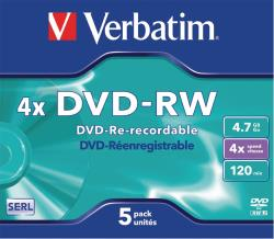 Verbatim 43285 DVD-RW Matt Silver 4x 4.7 GB Jewel Case 5 stuks