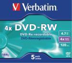 Verbatim 43285 DVD-RW Matt Silver 4x 4.7 GB Jewel Case 5 stuks