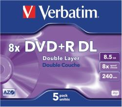 Verbatim 43541 DVD+R Double Layer 8x 8.5 GB Jewel Case 5 stuks