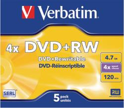 Verbatim 43229 DVD+RW Matt Silver 4.7 GB 4x Jewel Case 5 stuks