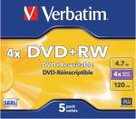 Verbatim 43229 DVD+RW Matt Silver 4.7 GB 4x Jewel Case 5 stuks