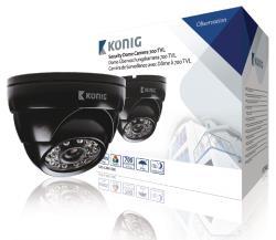 König SAS-CAM1200 Beveiligingscamera dome 700 TVL incl. 18 m kabel zwart