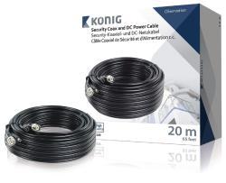 König SAS-CABLE1020B Coax-kabel RG59 voor beveiligingscamera en DC-voeding 20,0 m