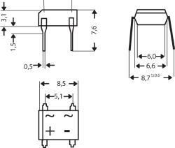 DC Components B1000D Bridge rectifier dil =dB107