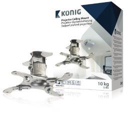 König KNM-PM11 Projectorplafondbeugel 10 kg / 22 lbs zilver