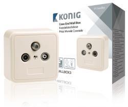 KN-WALLBOX3 Coax-wandcontactdoos TV/FM/SAT