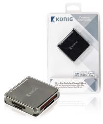 König CSU2ACR100BL Alles-in-een geheugenkaartlezer USB 2.0