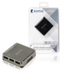 König CSU2CHC100BL 3-poorts USB 2.0-hub en geheugenkaartlezer