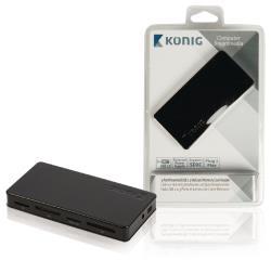 König CSU2CHC200BL 3-poorts powered USB 2.0-hub en geheugenkaartlezer