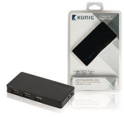 König CSU2H4P200BL 4-poorts powered USB 2.0-hub
