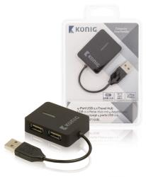 König CSU2TH4P100BL 4-poorts hub USB 2.0 reisuitvoering