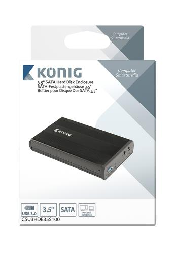 "König CSU3HDE35S100 3.5"" SATA harde schijf-behuizing USB 3.0"