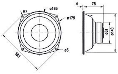 "Visaton 1054 Woofer 17 cm (6.5"") 4 Ohm"