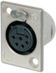 Neutrik NC6FP-1 XLR Panel-mount female receptacle 6 Panel-mount female receptacle P soldeer connectie nickel-plated