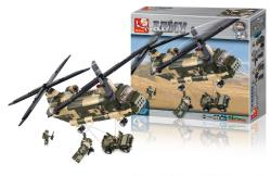 Sluban M38-B0508 Building Blocks Army Series Transport Helicopter