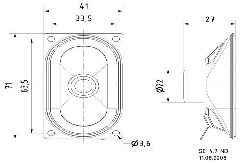 Visaton 8047 Afgeschermde ovale breedbandluidspreker 4 Ohm