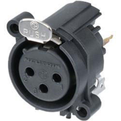 Neutrik NC3FAV1 XLR Panel-mount female receptacle 3 Panel-mount female receptacle A Certical/PCB Mounting Zwart