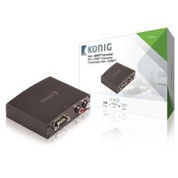 König KNVCO3410 HDMIT-converter VGA female + RL-audio - HDMIT-uitgang donkergrijs