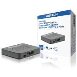 Valueline VLVSP3402 HDMI-splitter 2-wegs HDMI-ingang - 2x HDMI-uitgang zwart