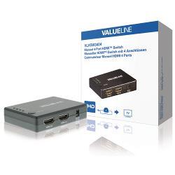 Valueline VLVSW3404 Handmatige 4-poorts HDMI-schakelaar 4x HDMI-ingang - HDMI-uitgang zwart
