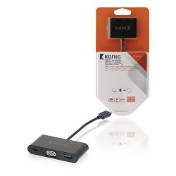 König KNC64765E02 König digitale multipoort AV-adapter USB 3.1 C male - C/HDMI™/A female 0,15 m