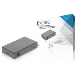 König KNASP2504 Digitale audiosplitter 4-wegs TosLink female - 4x female donkergrijs