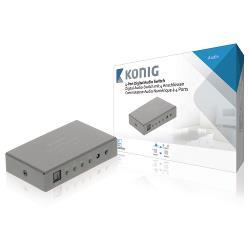 König KNASW2504 Digitale audio-switch 4-wegs TosLink 4x female - 1x female donkergrijs