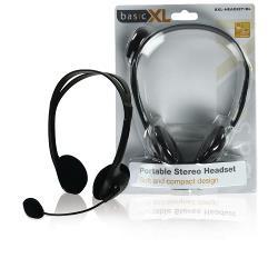 basicXL BXL-HEADSET1BL Headset On-Ear 2x 3.5 mm Bedraad Ingebouwde Microfoon Zwart