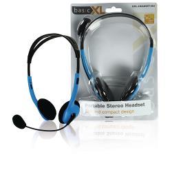 basicXL BXL-HEADSET1BU Headset On-Ear 2x 3.5 mm Bedraad Ingebouwde Microfoon Blauw