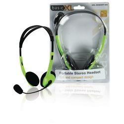 basicXL BXL-HEADSET1GR Headset On-Ear 2x 3.5 mm Bedraad Ingebouwde Microfoon Groen