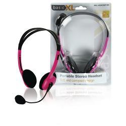 basicXL BXL-HEADSET1PI Headset On-Ear 2x 3.5 mm Bedraad Ingebouwde Microfoon Roze