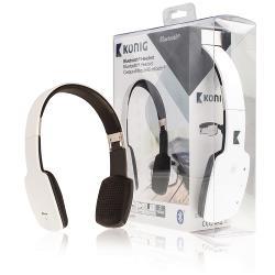 König CSBTHS100WH Headset On-Ear Bluetooth Ingebouwde Microfoon Wit