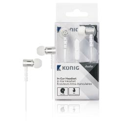 König CSHSIEF100WH Headset Platte Kabel In-Ear 3.5 mm Bedraad Ingebouwde Microfoon Wit