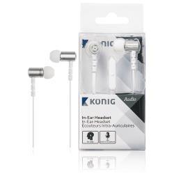 König CSHSIEF300WH Headset Platte Kabel In-Ear 3.5 mm Bedraad Ingebouwde Microfoon Wit