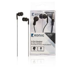 König CSHSIER100BL Headset In-Ear 3.5 mm Bedraad Ingebouwde Microfoon Zwart