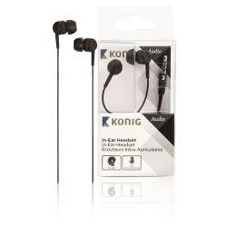 König CSHSIER200BL Headset In-Ear 3.5 mm Bedraad Ingebouwde Microfoon Zwart