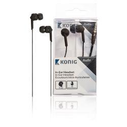König CSHSIER300BL Headset In-Ear 3.5 mm Bedraad Ingebouwde Microfoon Zwart