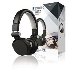 König CSHSONE110BL Headset On-Ear 3.5 mm Bedraad Ingebouwde Microfoon Zwart