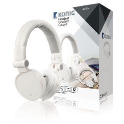 König CSHSONE110WH Headset On-Ear 3.5 mm Bedraad Ingebouwde Microfoon Wit