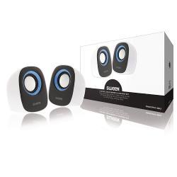 Sweex SW20SPS110BU Speaker 2.0 Bedraad 4 W Wit/Blauw
