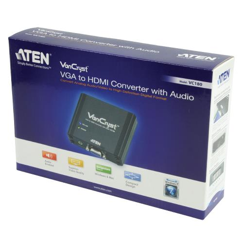 Aten  HDMI-Converter VGA Female 15-Pins - HDMI-Uitgang Zwart