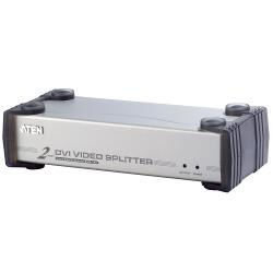 Aten  DVI-Splitter DVI-I Ingang / 1x 3.5mm - 2x DVI-I Female / 2x 3.5 mm Zilver
