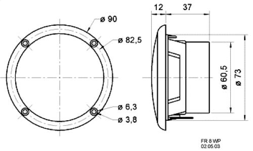 "Visaton 2128 Full-range luidspreker zoutwaterbestendig 8 cm (3.3"") 4 Ohm wit"