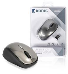 König CSMSDWL200 Draadloze desktop-muis met 3 knoppen