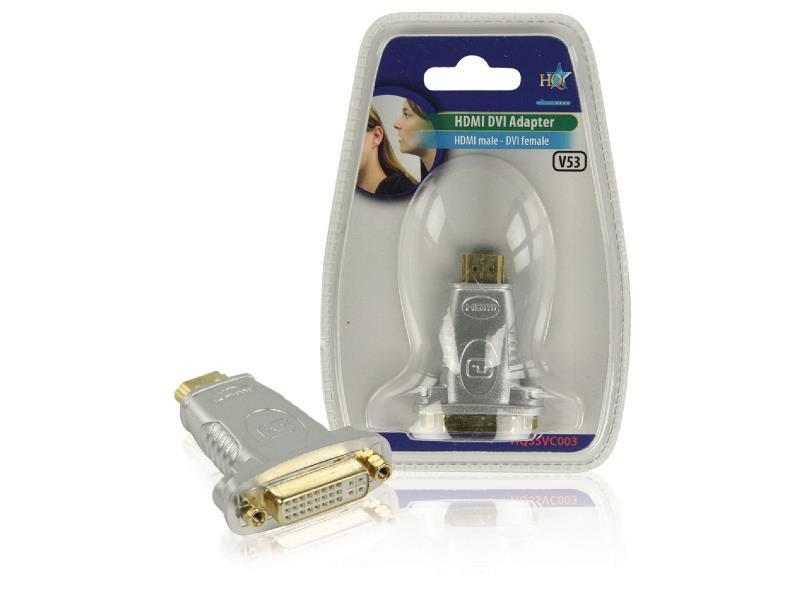 HQ HQSSVC003 High Speed HDMI Adapter HDMI-Connector - DVI-D 24+1-Pins Female Zwart